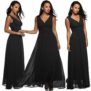 V Neck V Back Ruched Waist Evening Party Long Chiffon Dress small black