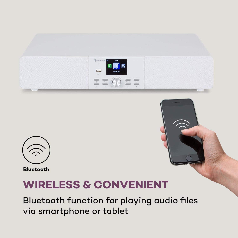 Bluetooth Display LC da 2,8 Nero AUNA Stealth Base Porta USB Radio Web//DAB+//FM 2x15 W Connect Soundbase AirMusic Control App Ingresso Line 30 W RMS