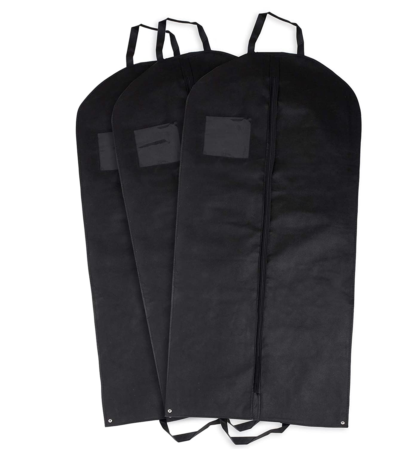 3 Garment Bags (Long) For Suits, Tuxedos, Dresses, or Gowns- 55'' Long w/Window By Pointed Designs