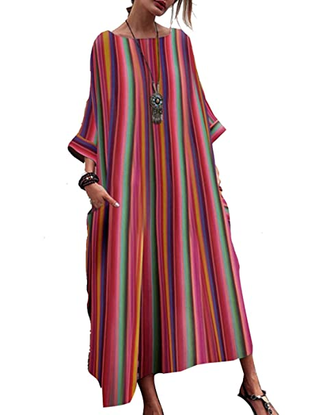 Naliha Women Bohemian Dresses Baggy Colorful Casual Summer ...