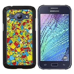 YiPhone /// Prima de resorte delgada de la cubierta del caso de Shell Armor - Wallpaper Juguetes para niños coloridos Reproducción - Samsung Galaxy J1 J100