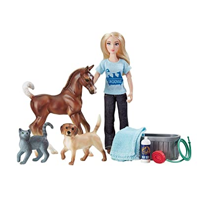 "Breyer Freedom Series (Classics) Pet Groomer Doll & Animals Set | 10 Piece Playset with 6"" Fully Articulated Rider Doll 