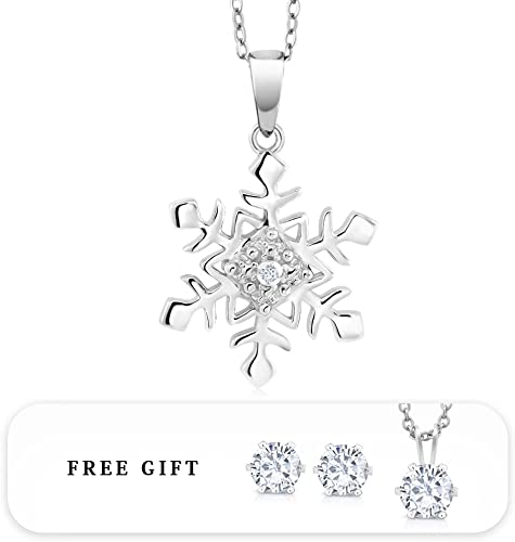 """Diamond Accent Snowflake Pendant 14K Rose Gold Plated Comes with 18/"""" Chain"""