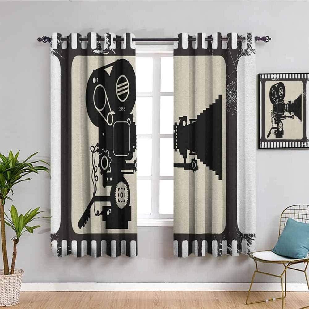 LWXBJX Opacas Cortinas Dormitorio - Cámara Cinta Retro era - Impresión 3D Aislantes de Frío y Calor 90% Opacas Cortinas - 200 x 214 cm - Salon Cocina Habitacion Niño Moderna Decorativa