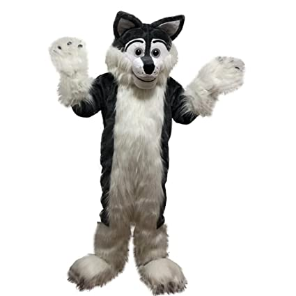 Cartoon Mascot Disfraz De Lobo De Peluche Largo De Color Gris Oscuro