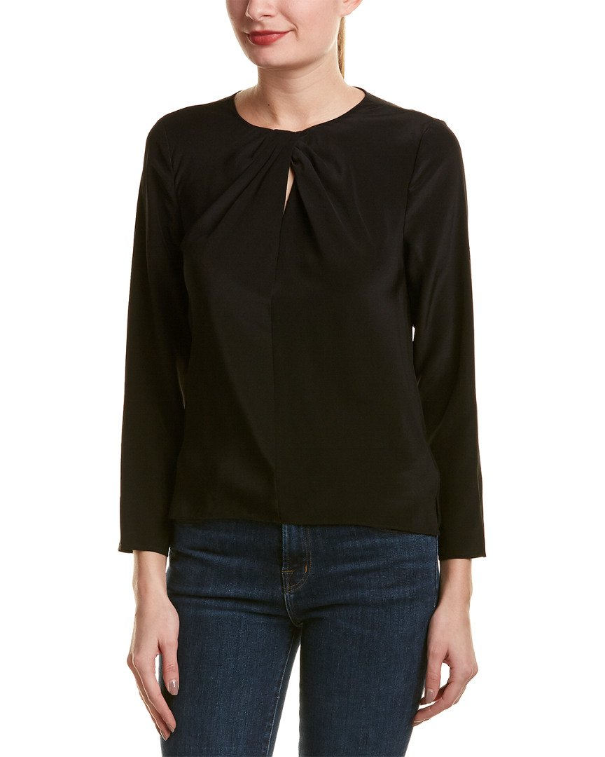 Rebecca Taylor Womens Twisted Silk Top, 10, Black