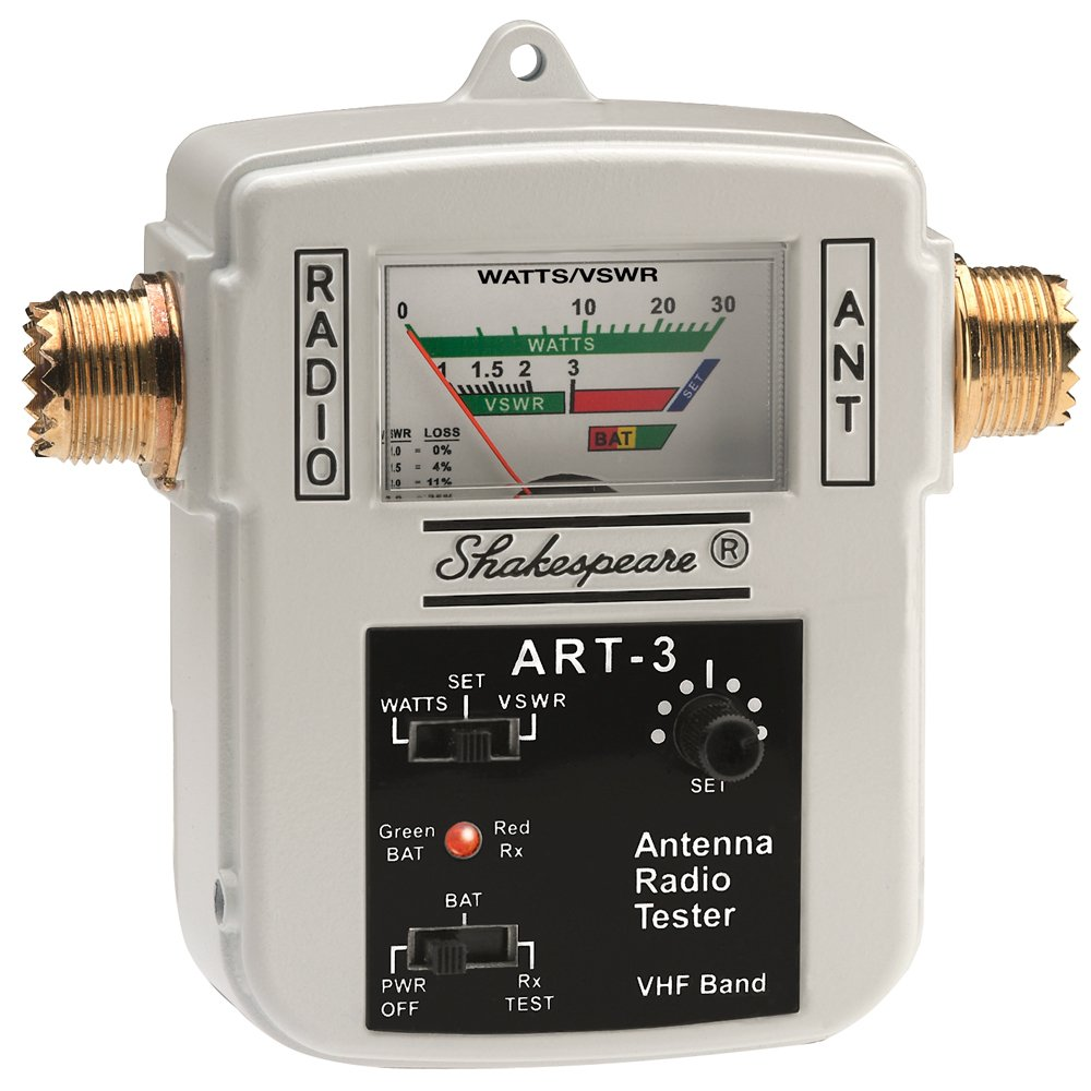 SHAKESPEARE SHA-ART-3 / Antenna Radio Tester, MFG# ART-3, die cast aluminum tester with internal battery power (not inc.) or 12 VDC w/inc. power cable for Freq Range of 155-158 MHz, includes SO-239 connectors