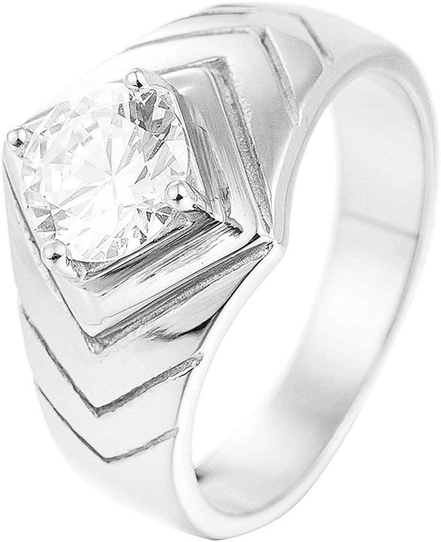 KnSam Women Wedding Bands Stainless Steel Rhombus Silver