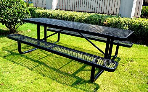 8′ Rectangular Picnic Table, Expanded Metal, Black (96″ Long)