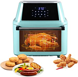 Large Air Fryer,16.9-Quarts Air Oven,Rotisserie Oven,1800W Electric Air Fryer Oven with LED Digital Touchscreen, All-in-One Rotisserie and Dehydrator, 8 Preset Quick Menus &8 Accessories (Mint Green)