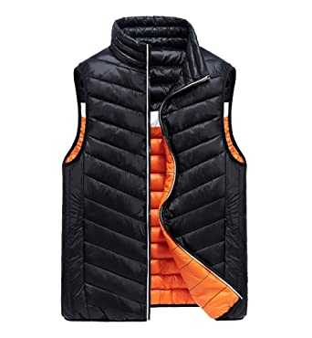 dcfd5c9afbc ... Jackets Slim Fit Bodywarmer Stand Collar Gilets Body Warmer Bubble  Bodywarmers With Pockets Winter Thicken Warm Sport Both Sides Wear: Amazon. co.uk: ...