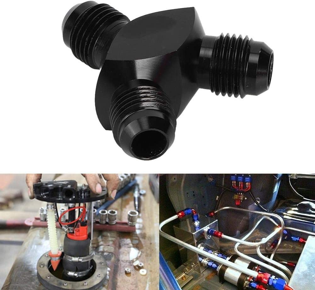Cuque Y-Block Male Flare Fitting Adapter Male Flare Adapter 2X AN6 a Male to AN6 6-AN Male T6061 Aluminum Alloy Black for Oil Fuel Water Air Lines