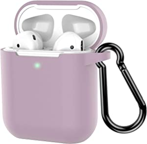 Coffea Protective Silicone Case with Keychain for Apple AirPods 2 (Grayish Purple)