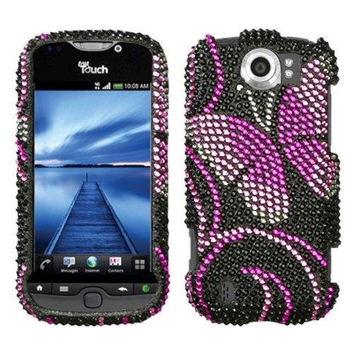 (Asmyna HTCMYTH4GSLHPCDM183NP Dazzling Luxurious Bling Case for HTC My Touch 4G Slide - 1 Pack - Retail Packaging - Fairyland Butterfly)