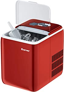 COSTWAY Ice Maker Countertop with Self-cleaning Function, Make 44 Lbs Ice in 24 Hours, Ice Cubes Ready in 8.5 Mins, Ideal for Bar Home and Office, Portable Ice Machine with Ice Scoop and Basket, Red