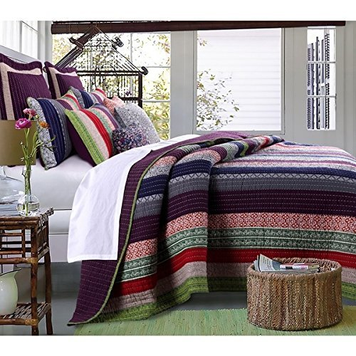 - 3pc French Country Woven Striped Theme Quilt King Set, Colored Stripe Bedding, Vintage Vertical Paisley Scroll Stripes Solid Plum Purple, Dark Navy Blue Pink Red Green
