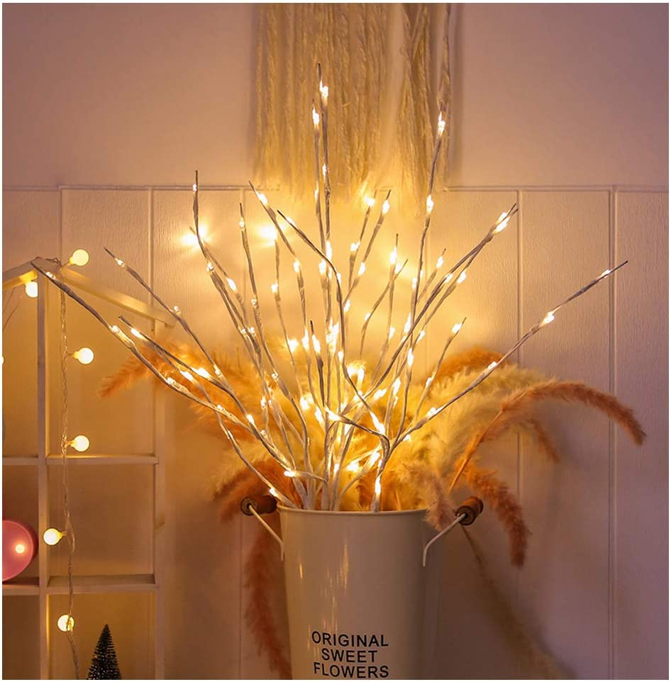 Lxcom Lighting Branch Lights 4 Pack Lighted White Willow Twig Lighted Branch Battery Powered Wrapped Twig Branches Decorative Lights for Home Garden Party Wedding Decor, 20 LED Lights, Warm White