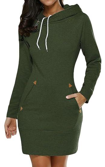 d53ffddc174 ARTFFEL Women Longline Hoodie Solid Casual Drawstring Sweatshirt Hoodie  Pullover Dress at Amazon Women s Clothing store