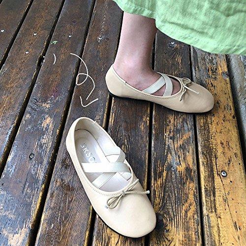 Overdose Large En Plates Pointure chaussures Cuir Femme Nude Confortables Avec Ballerines Flat Nœud Casual rqntFwrf