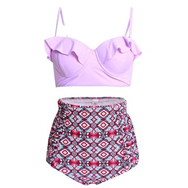 f3e687159db Amazon.com: Women Swimsuit Two Piece Ruffle Retro High Waisted Floral Print  Multicolor Cut Out Bikini Set: Clothing