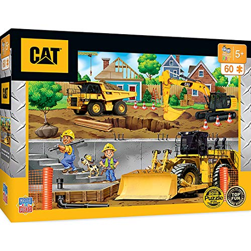MasterPieces The Right Fit Kids Caterpillar Jigsaw Puzzle, In My Neighborhood Construction Trucks, Tillywig Top Fun Award, 60 Piece, For Age 5+