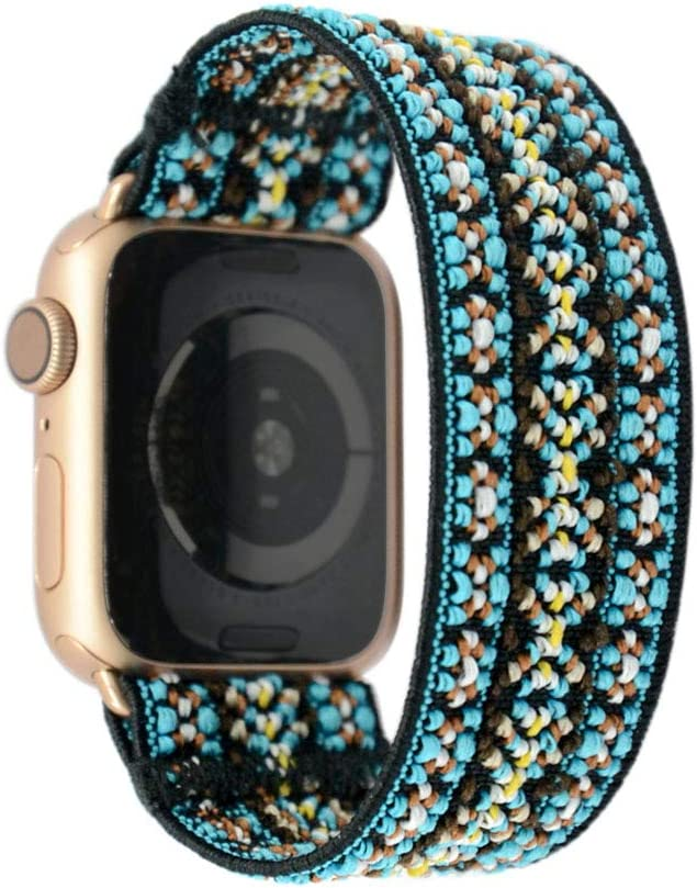 Tefeca Orchid Embroidery Pattern Elastic Compatible/Replacement Band for Apple Watch 38mm/40mm (Gold Adapter, M fits Wrist Size : 6.5-7.0 inch)