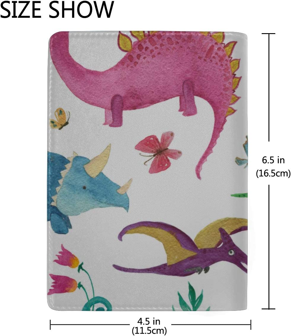 Passport Holder Wallet Cover Case Dinosaurs Cute Kids Colorful Animals Stylish Pu Leather Travel Accessories U.s Passport Leather Case For Women Men