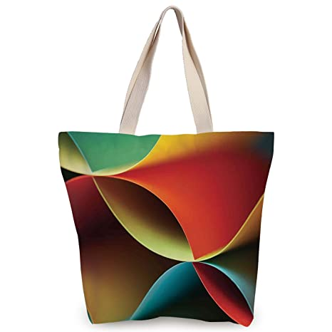 Amazoncom Iprint Funky Canvas Tote Bagabstract Decorgraphic