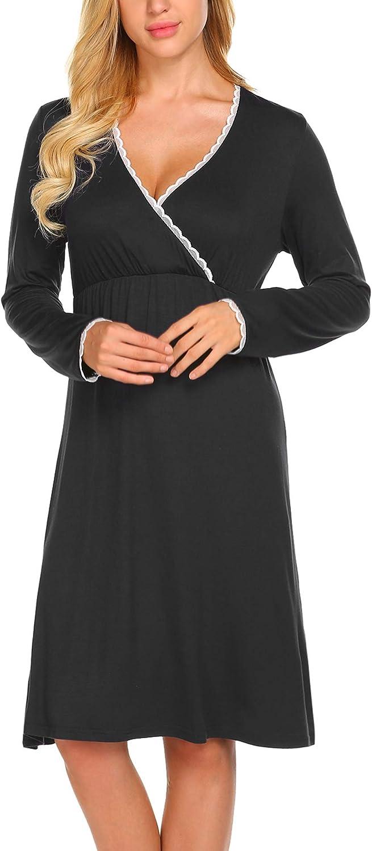 MAXMODA Vestito da maternit/à Donna Abito di maternit/à Allattamento Camicia da Notte Premaman Scollo a V a Maniche Lunghe Elegante S-XXL