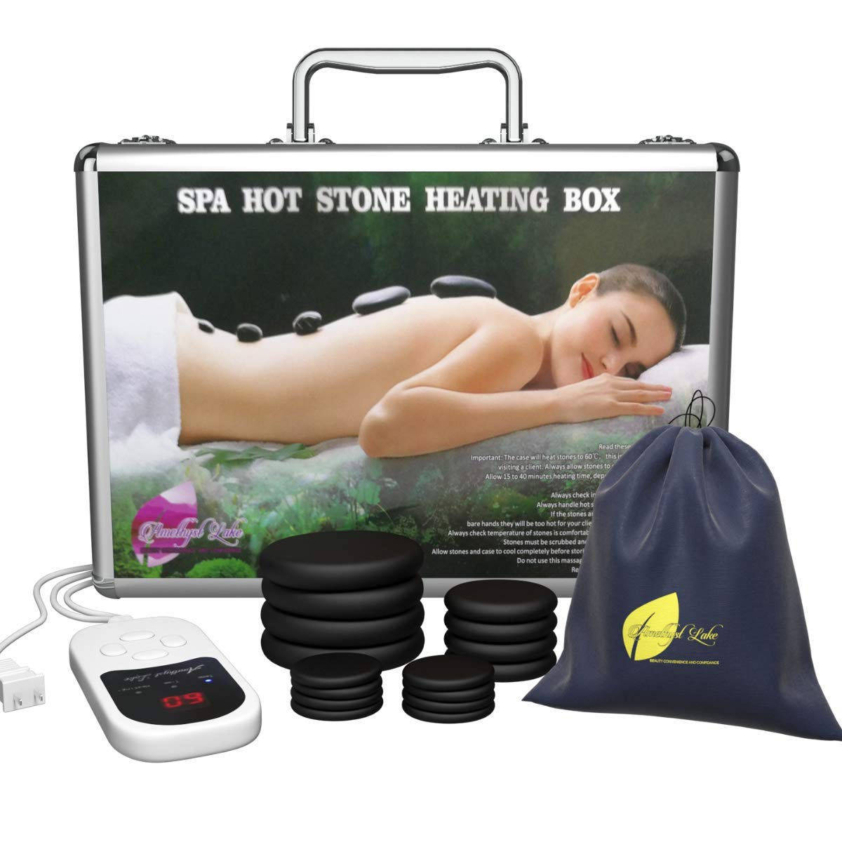 Professional Portable Massage Stone Heater Kit with 16 Therapy Hot Rocks Massage Stones Bonus Guide E-Book Included by Amethyst Lake