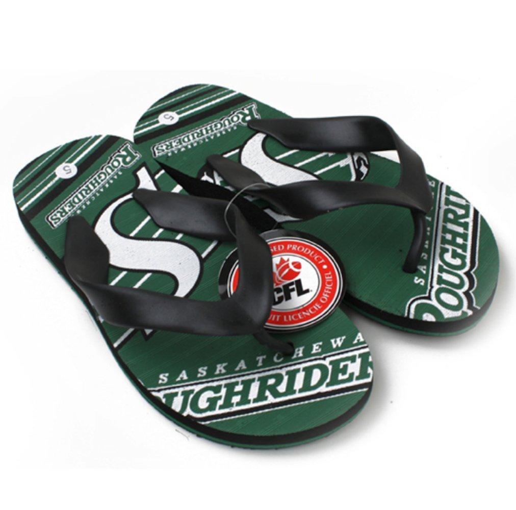 CFL Saskatchewan Roughriders Boys Varsity Slippers Flip Flops Size 6