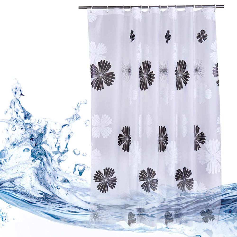 Yuclock PEVA Waterproof Thickening Anti-Moist Shower Curtain Bathroom Bathroom Partition Curtain, Ink, 200X200cm, Include Hook