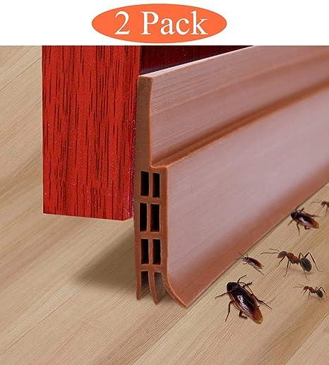 2 Pack Door Draft Stopper Under Door Sweep,ZROSIN Best DIY Door Bottom Seal  Strip Weather Stripping,Keep Cold/Heat Out,Energy Saver,Strong Adhesive