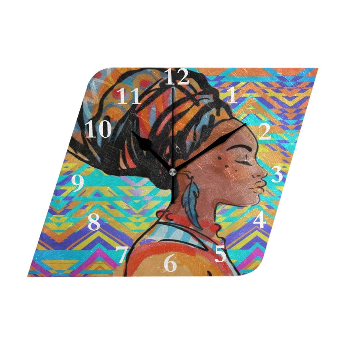 HU MOVR Wall Clock African Woman Vintage Silent Non Ticking Decorative Diamond Digital Clocks Indoor Outdoor Kitchen Bedroom Living Room