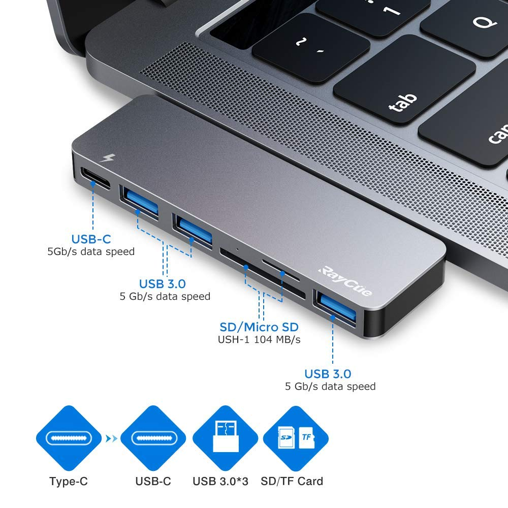 USB Hub, 6 in 1 Aluminum USB 3.0 Card Reader Hub with 3 USB 3.0 Ports and USB-C Power Delivery for MacBook Pro 13″ and 15″ 2016/2017/2018