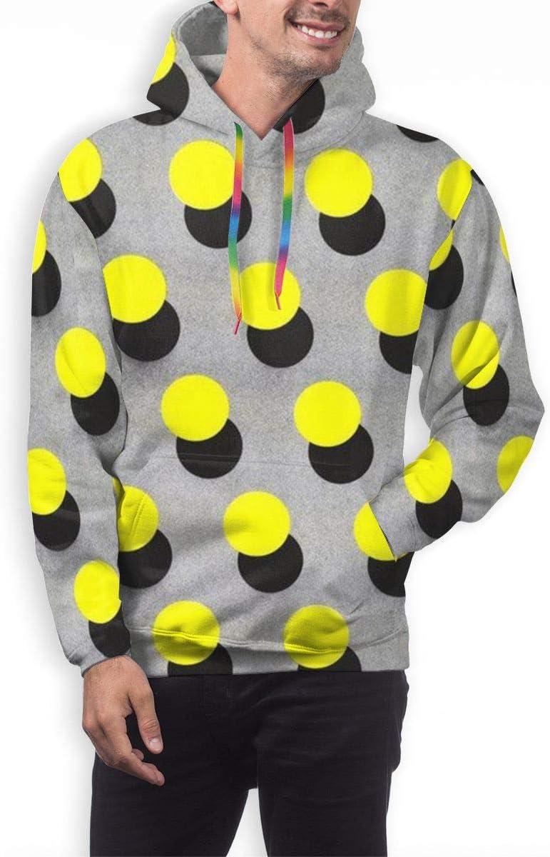 DUDBFGG Yellow Dots Men Lightweight Hooded Sweatshirt Causal Sport Hoodie