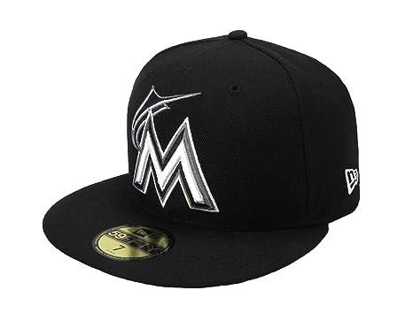 b2f3f8abb092c New Era 59Fifty Men s Hat Miami Marlins MLB Black Fitted Headwear Cap ...