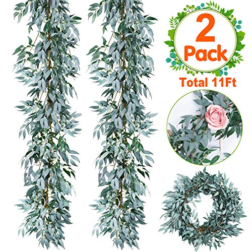 2 PCS Artificial Greenery Garland Total 12Ft Willow Leaf Garland Faux Silk Jungle Willow Leaves Artificial Ivy Garland Willow Wreath Greenery for Wedding Arch Jungle Party Wall Decor July Deals (Bouquet Elegance Simple)