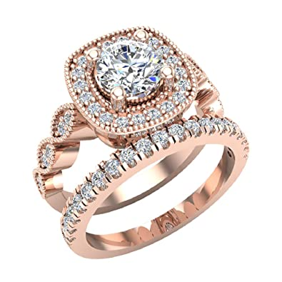 Amazon.com: Crescent - Anillo de boda con diamante redondo y ...