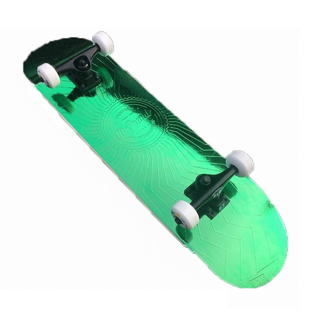 スケートボード スケートボード/商業向けダブルアップユース初心者スケートボード/フリースタイルスクーター/小魚用プレート四輪スクーター/ギフト (Color : 緑, Size : 80*20*12.5cm) 緑 80*20*12.5cm