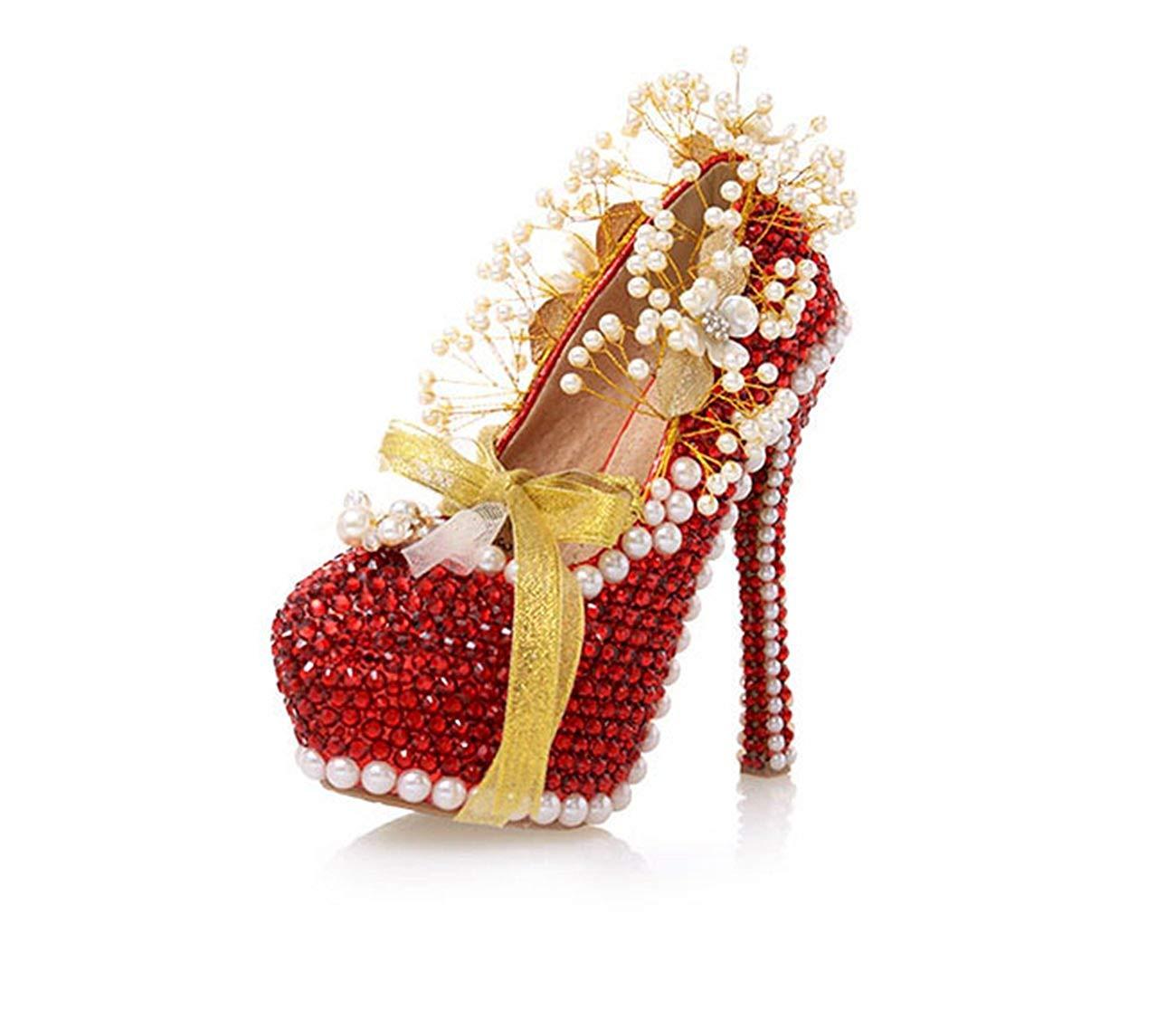 Qiusa Damen-Kristalle die rote Braut versteckte Plattform-Pumpen Großbritannien bördeln 2.5 (Farbe   - Größe   -)