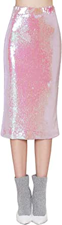 HaoDuoYi Women's Summer Full Sequins Pencil Midi Skirt
