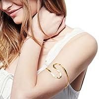 GreatFun Women New Fashion Curve Geo Open Upper Arm Cuff Armlet Armband Bangle Bracelet (Gold)