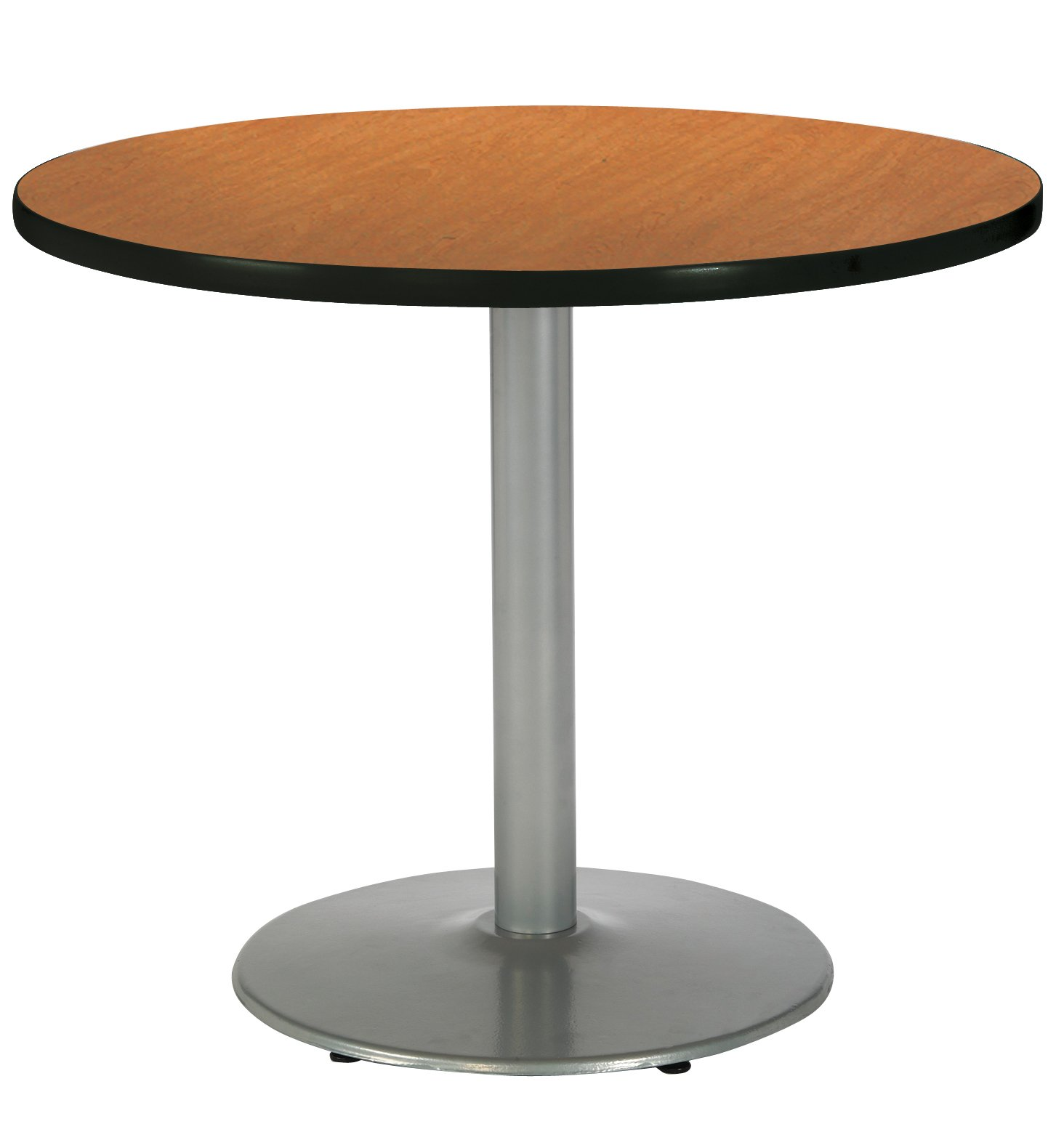 KFI Seating Round Pedestal Table with Round Silver Base, Commercial Grade, 42-Inch, Medium Oak Laminate, Made in the USA
