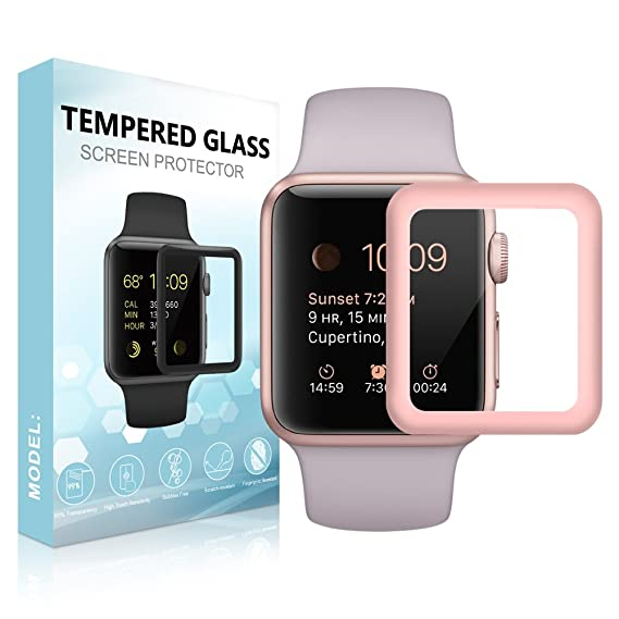 size 40 14324 d867f [For Series 3] SUPTMAX Screen Protector for Apple Watch, Apple Watch Series  3 Screen Protector [Soft Frame Edge] [9H Hardness] Full Coverage Carbon ...