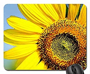 Sunflower - bee Mouse Pad, Mousepad (Flowers Mouse Pad, Watercolor style)
