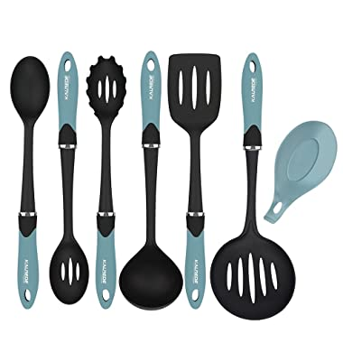 KALREDE Nylon Kitchen Utensils Set 6 Piece -Non Stick Cooking Utensils Set–Heat Resistant Kitchen Tools Set with Handle including Spatula, Pasta Server, Deep Ladle, Skimmer,Spoon, Slotted Spoon(Blue