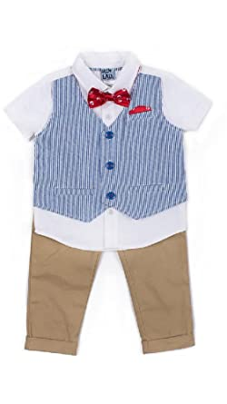 cb8e319eb Amazon.com  Little Lad Baby Boys 4-pc Stripe Vest
