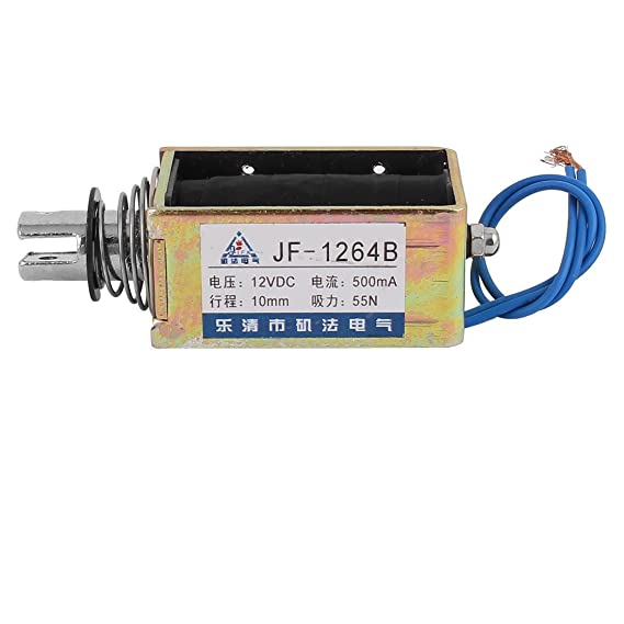 Amazon.com: eDealMax JF-1264B DC12V 500mA 10mm empuje 55N Tire electroimán del solenoide del imán: Home & Kitchen
