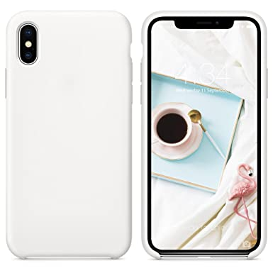 factory authentic 54840 bbcb3 SURPHY iPhone Xs Silicone Case, iPhone X Cover, Liquid Silicone Gel Rubber  Anti-Scratch 5.8 inch Phone Case for Apple iPhone XS/X, White